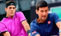 Trận Djokovic - Del Porro bị hoãn do trời mưa