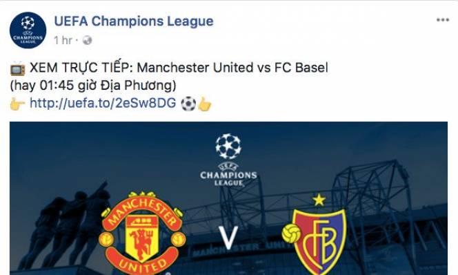 NHM Việt Nam được xem trực tiếp Champions League trên website UEFA