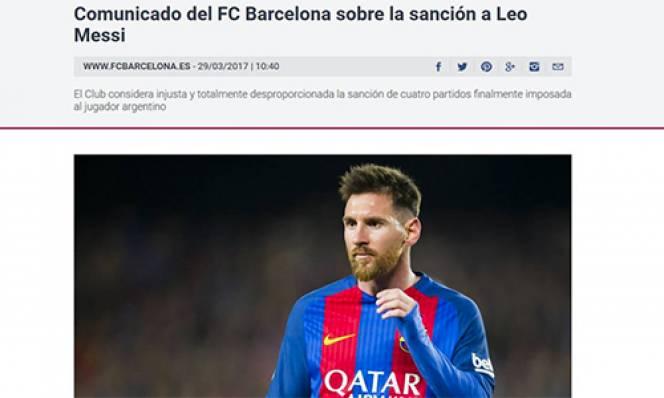 Bênh vực Messi, Barca ra thông báo chỉ trích FIFA