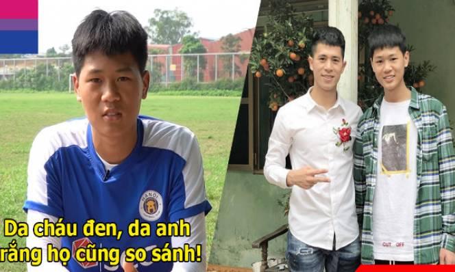 Cùng thi đấu ở vị trí trung vệ, em trai Đình Trọng buồn vì luôn bị so sánh với anh trai