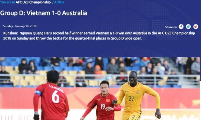 Liên đoàn bóng đá châu Á (AFC) hết lời khen ngợi chiến thắng lịch sử của U23 Việt Nam