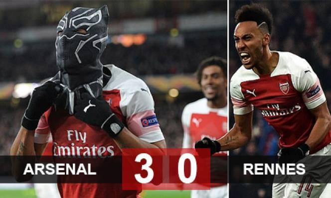 Arsenal 3-0 Rennes: Aubameyang sắm vai siêu anh hùng, Arsenal ngược dòng giành vé đi tiếp